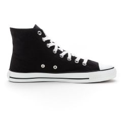 Fair Trainer White Cap Hi Cut Jet Black | Just White