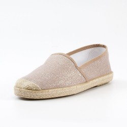 Veganer Espadrilles Evita Metallic Plain Rose von Grand Step Shoes