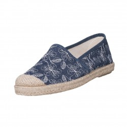 Veganer Espadrilles Evita Plain Flowaers Azul von Grand Step Shoes